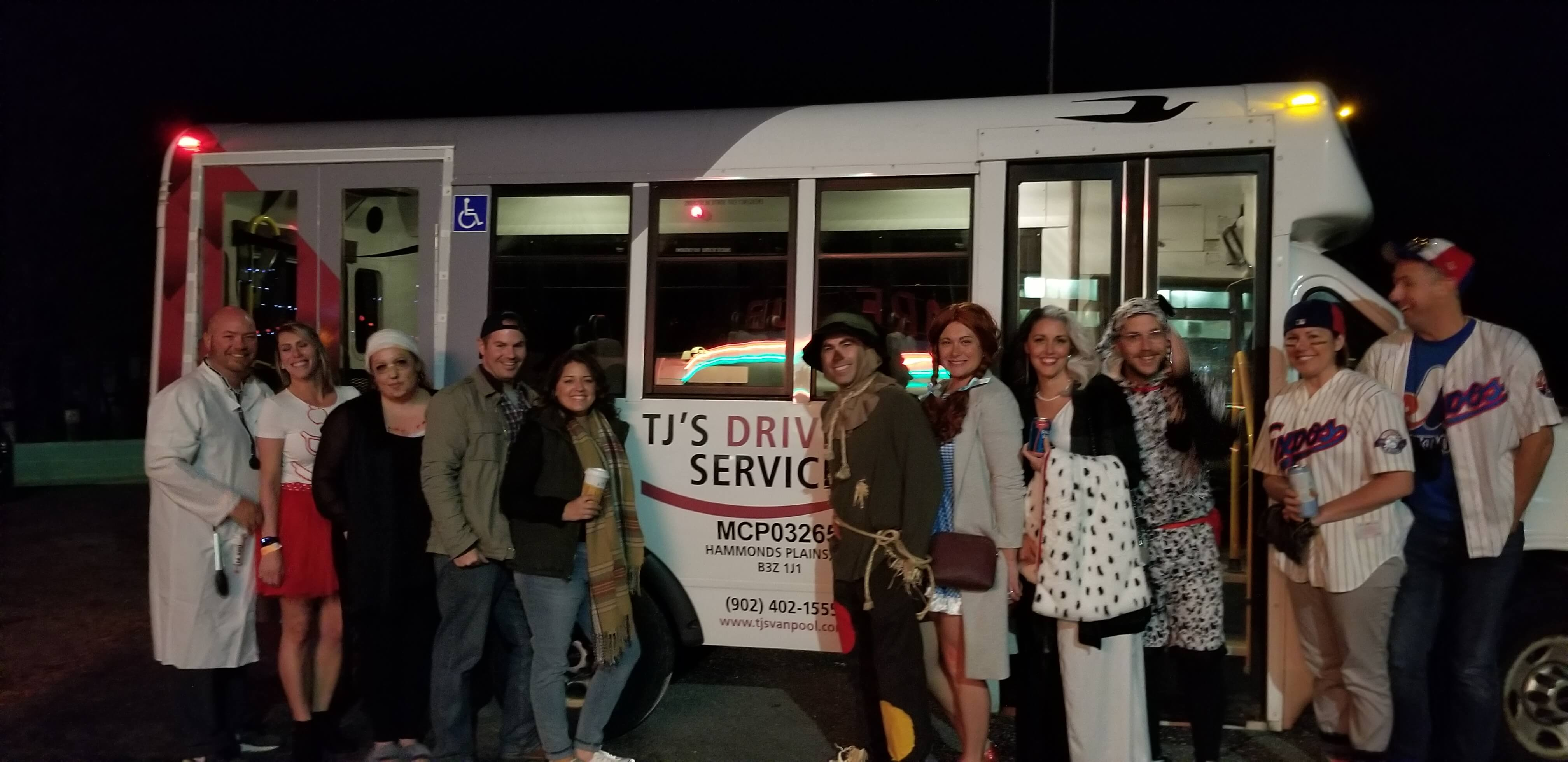 Halloween Group in Front of TJ's Accessible Bus